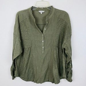 Lucky Brand Henley Army Olive Green Ruffle Shirt M